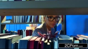 Busty blonde librarian, Danielle Skin likes to be forced to suck a huge cock, while visiting her professor