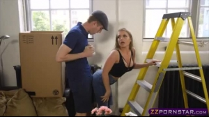 Posh blonde diva with glasses offers up her pussy and ass while getting fucked in her new apartment