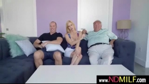 Tattooed blonde, Alexis Fawx is riding her partner's hard dick, like a crazy whore she is